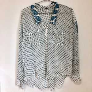 FreePeople Blue Daisy Button Down Blouse
